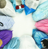 Assortment of shoe covers on shoes
