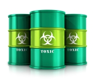 Green barrels with toxic substances